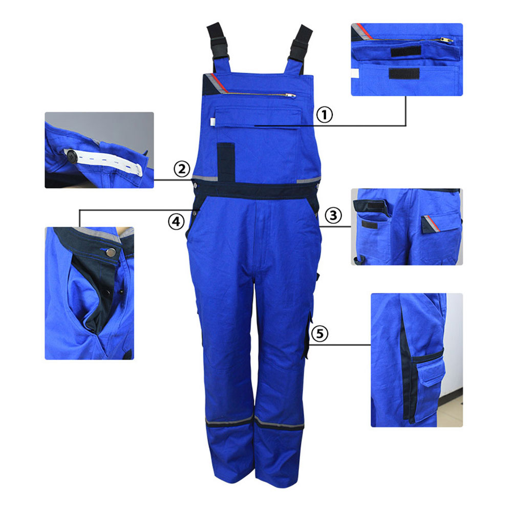 Royal Blue Fire Retardant Anti Static Welder Working Bib Overalls