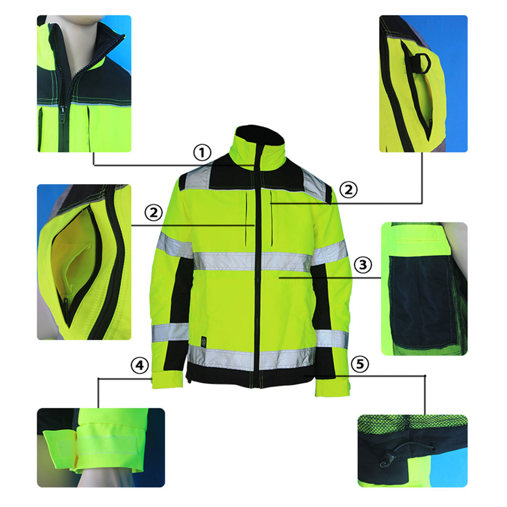 high visibility yellow and black jacket