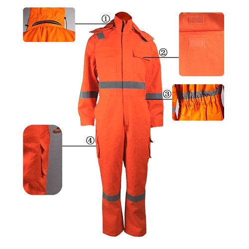 high visibility orange coveralls