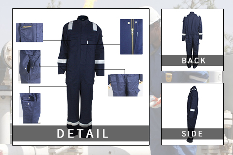 aramid IIIA flame resistant protective coveralls